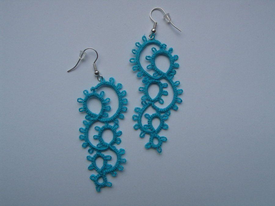 Blue Tatting Earrings By Etai93 Deviantart On