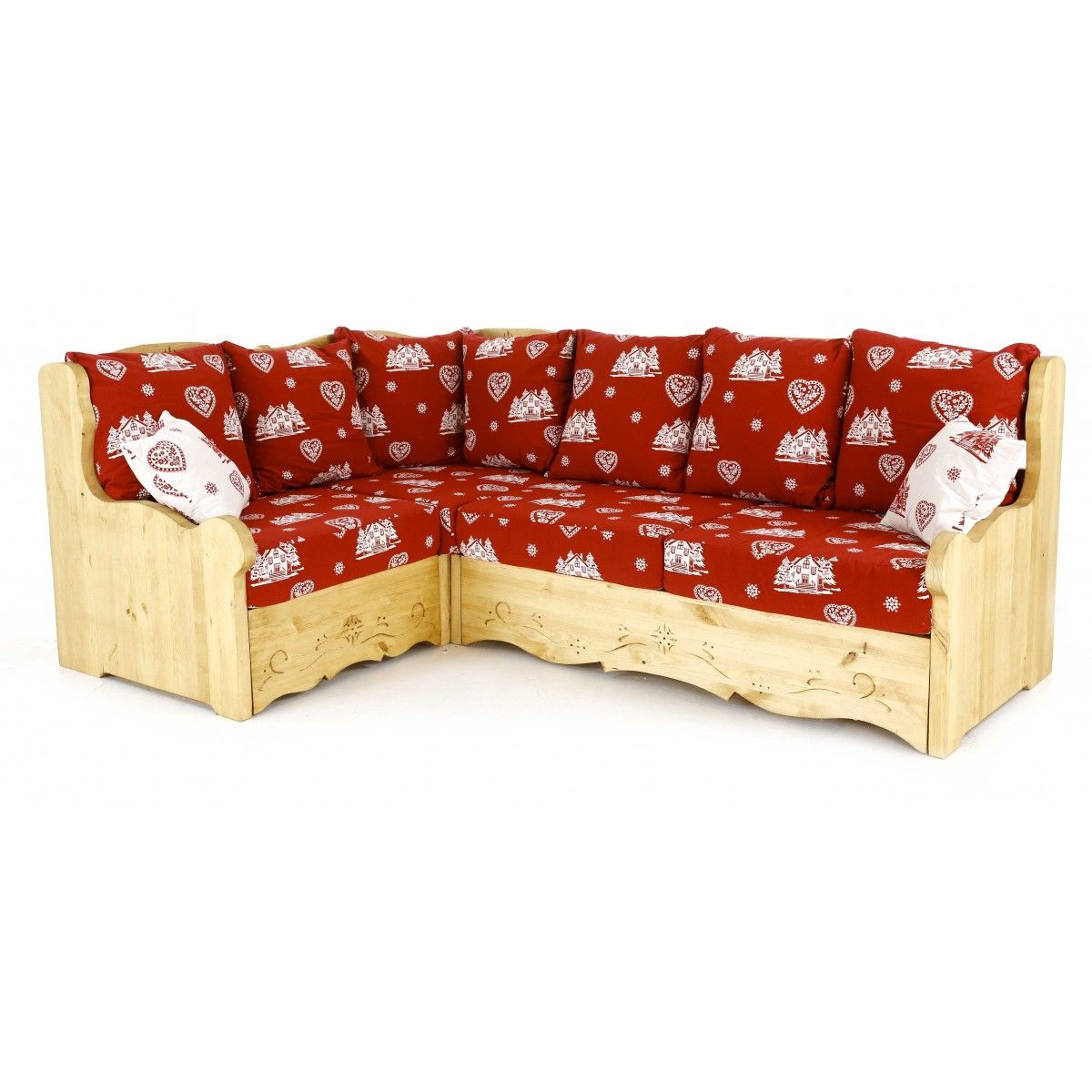 Canape D Angle Coffre Style Chalet Rouge Courchevel Canape D Angle Modulable Canape Angle Pin Massif