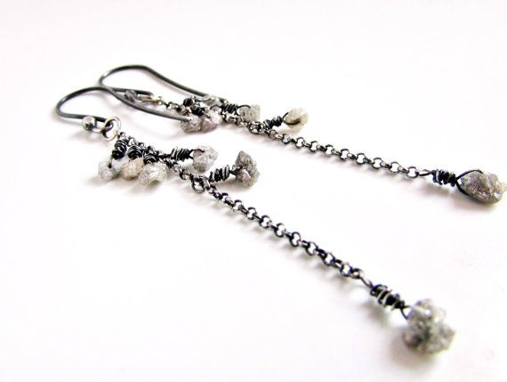 Silver Rough Diamond Dangle Earrings April Birthstone by Beeskers, $75.00