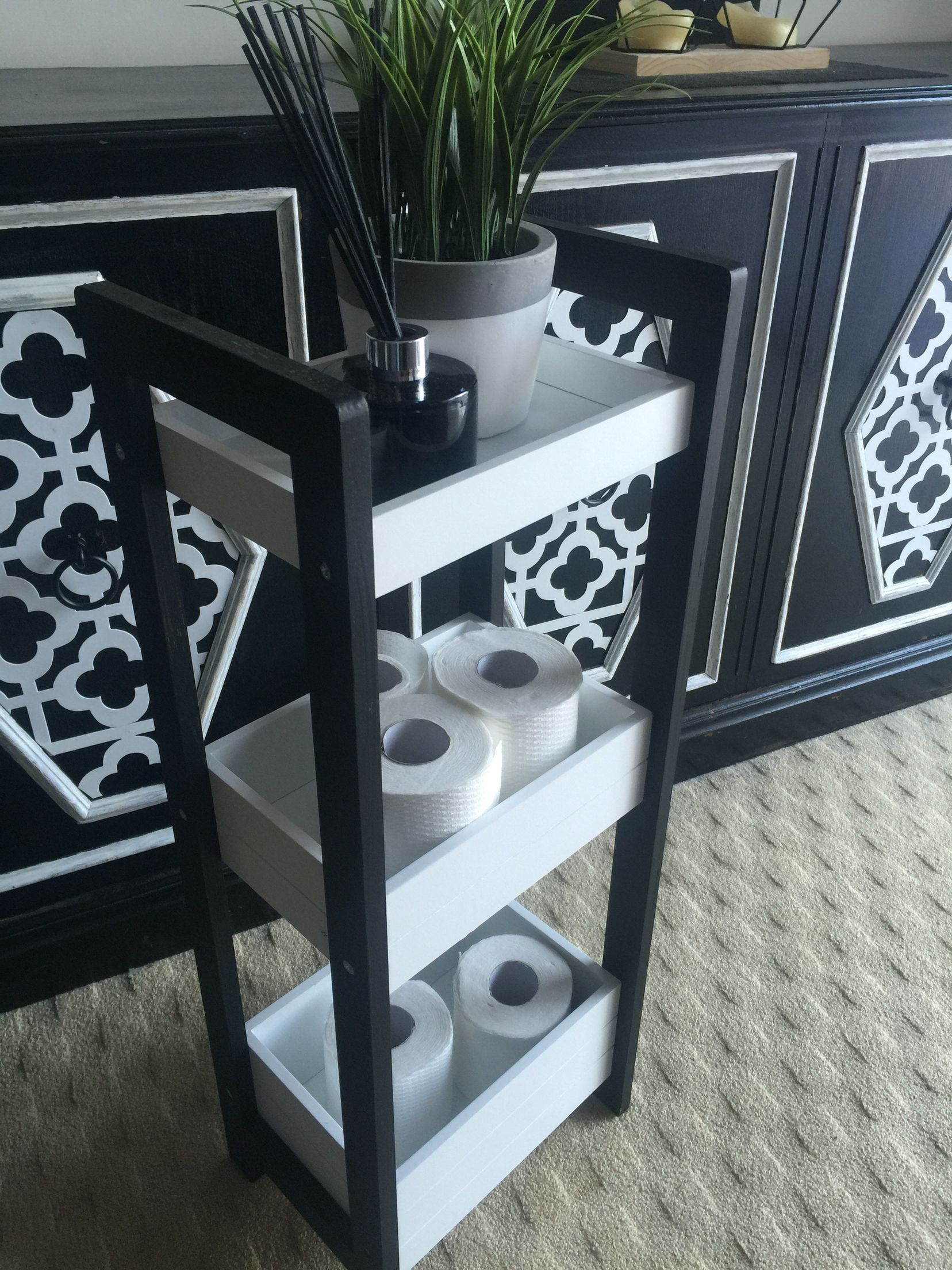 Kmart hack toilet caddy painted black and white changes the whole ...