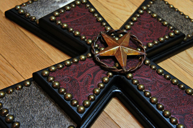 Cowhide Crosses Rustic Home Decor