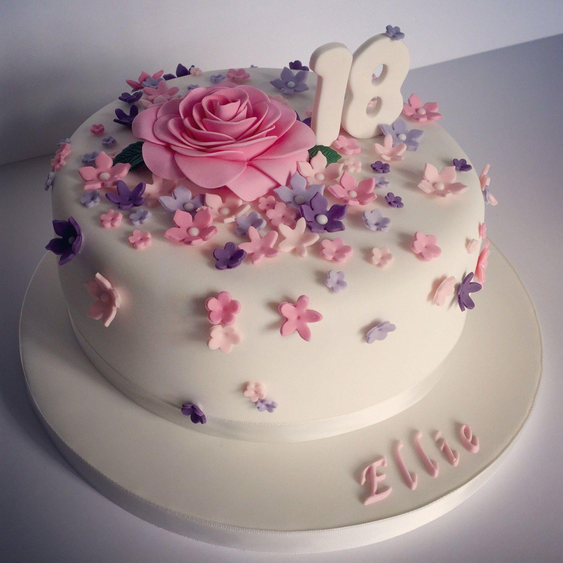 Awesome 18 Birthday Cakes Pretty 18Th Birthday Cake For Pretty Girl 18 Personalised Birthday Cards Bromeletsinfo