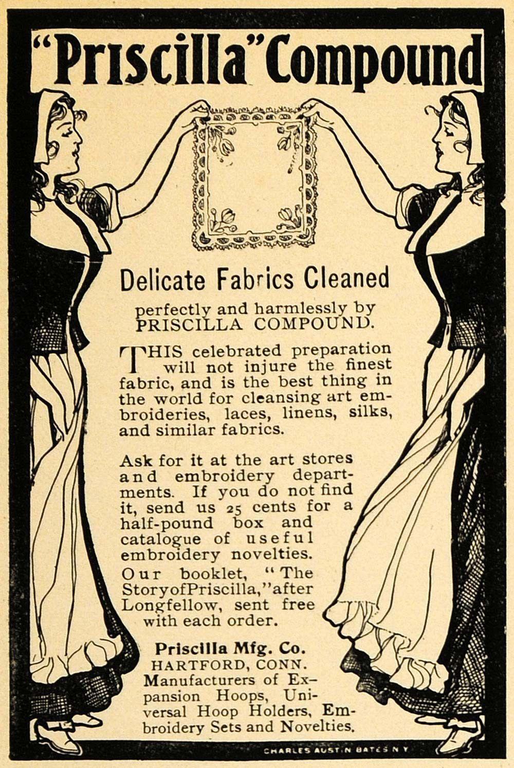 1900 Ad Priscilla Manufacturing pany pound Fabric Charles Austin Bates CM1