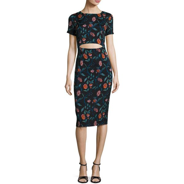 Suno Floral Stretch Silk Cutout Sheath Dress ($595) ❤ liked on Polyvore  featuring dresses