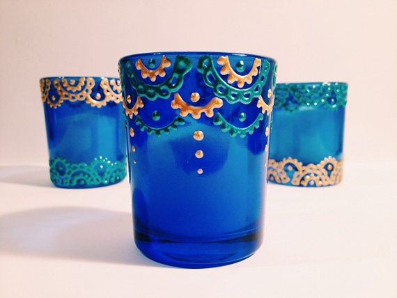 Henna Painted Votive Candle Holder Electric Blue Glass W