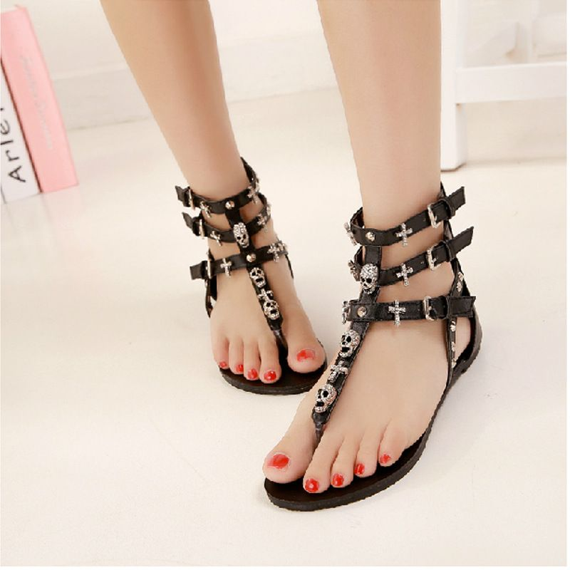 Women's Peep-Toe Low SandalsZYUPUP Bohemian Style Summer Breathable Soft Roman Sandals Flip Flops Shoes
