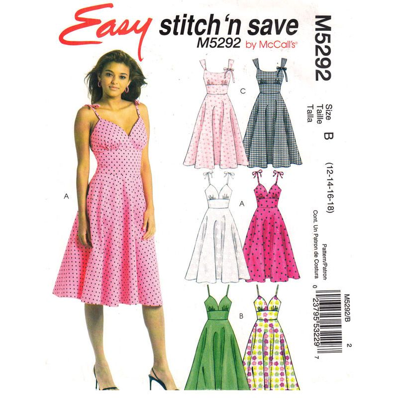 50s Style Dress Pattern McCalls 5292 Spaghetti Strap Fit and Flare ...