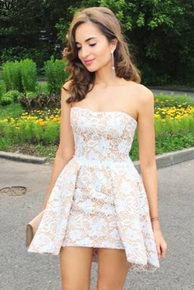 fc49ca17c ... Dress,Fashion Prom Dress,Prom Gowns,Dresses for Girls,Prom Dress,Simple Prom  Dresses,Elegant Strapless White Lace Short Homecoming Dress, Cheap Prom ...