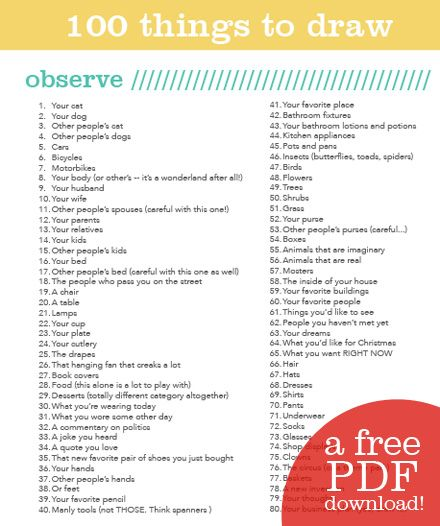 Not Sure What To Draw Here S A List Of 100 Things To Start Off With Pikaland What To Draw Art Handouts Art Classroom