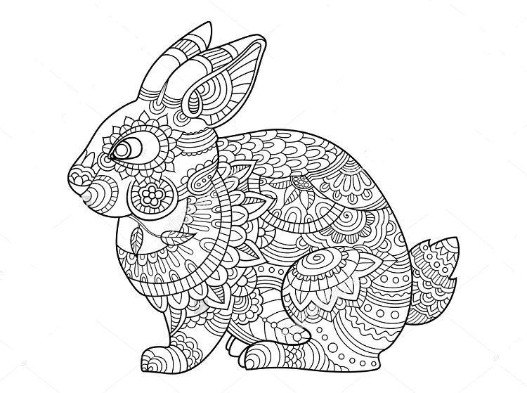 Bunny Mandala Coloring Pages Bunny Coloring Pages Mandala Coloring Pages Animal Coloring Pages
