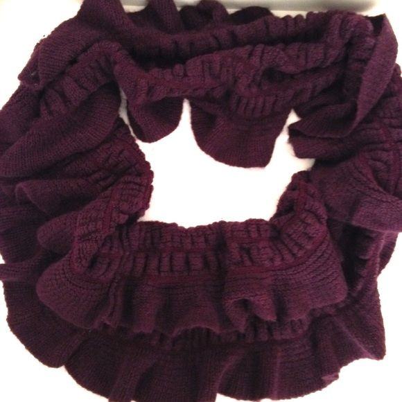 "BOGO 🌟 PURPLE KNiT CiRCLE SCARF Adorable super soft dark purple knit circle scarf. Adds a nice touch of texture and ruffles to your outfit! By Tickle Pink. 100% acrylic. 27"" long when open. Good pre-owned condition with no holes, rips, or stains.  KWs: infinity, feminine, spring, indie, layers Accessories Scarves & Wraps"