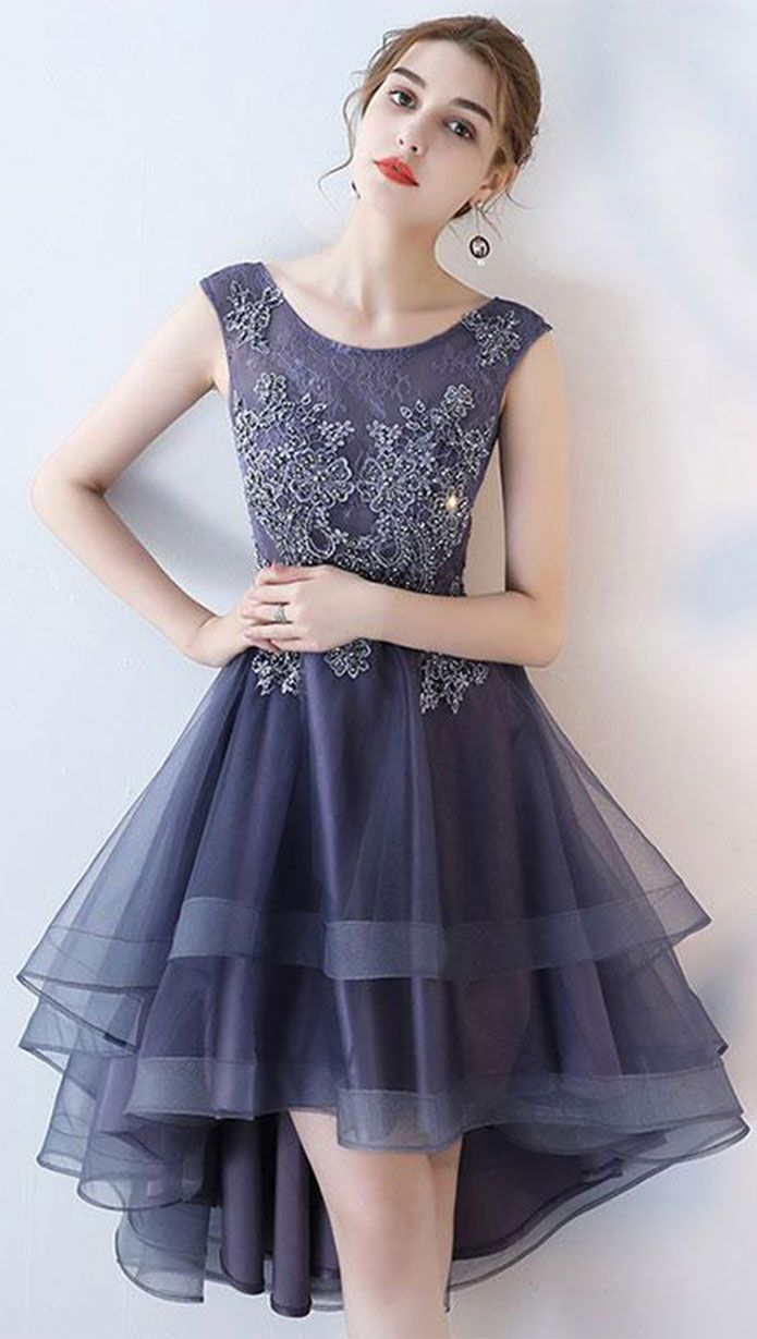 Purple round neck lace tulle high low prom dress 7220878a9