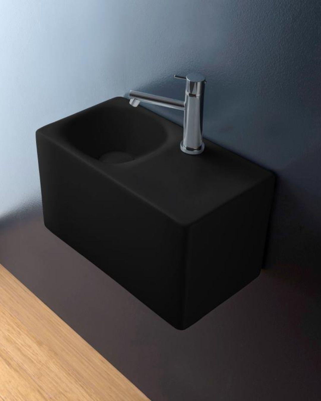 Scarabeo Cube Ein Glatter Quader Mit Gerundeten Kanten Bildet Die Grundform Fur Das Aufsatz Oder Hangewaschbecken Das Waschbecken Schwarz Matt Unterschrank