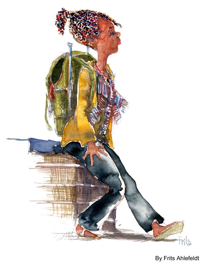 Watercolor rasta girl with old backpack sketch from my walk in copenhagen today by frits - Dessin de rasta ...