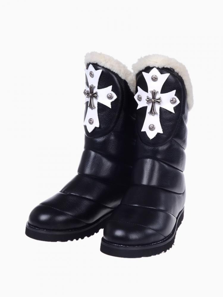 Shearling Snow Boots With Cross Detail