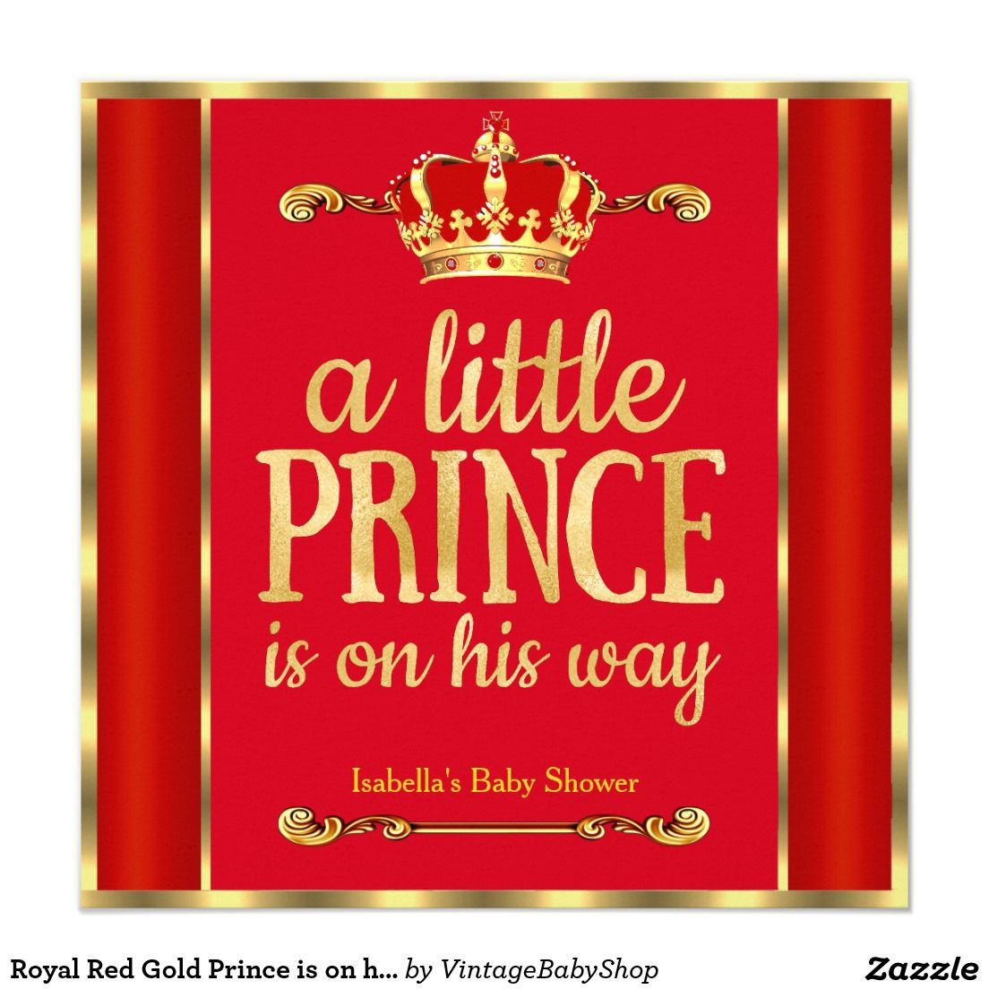 Royal Red Gold Prince is on his way Baby Shower Invitation | Oliver ...