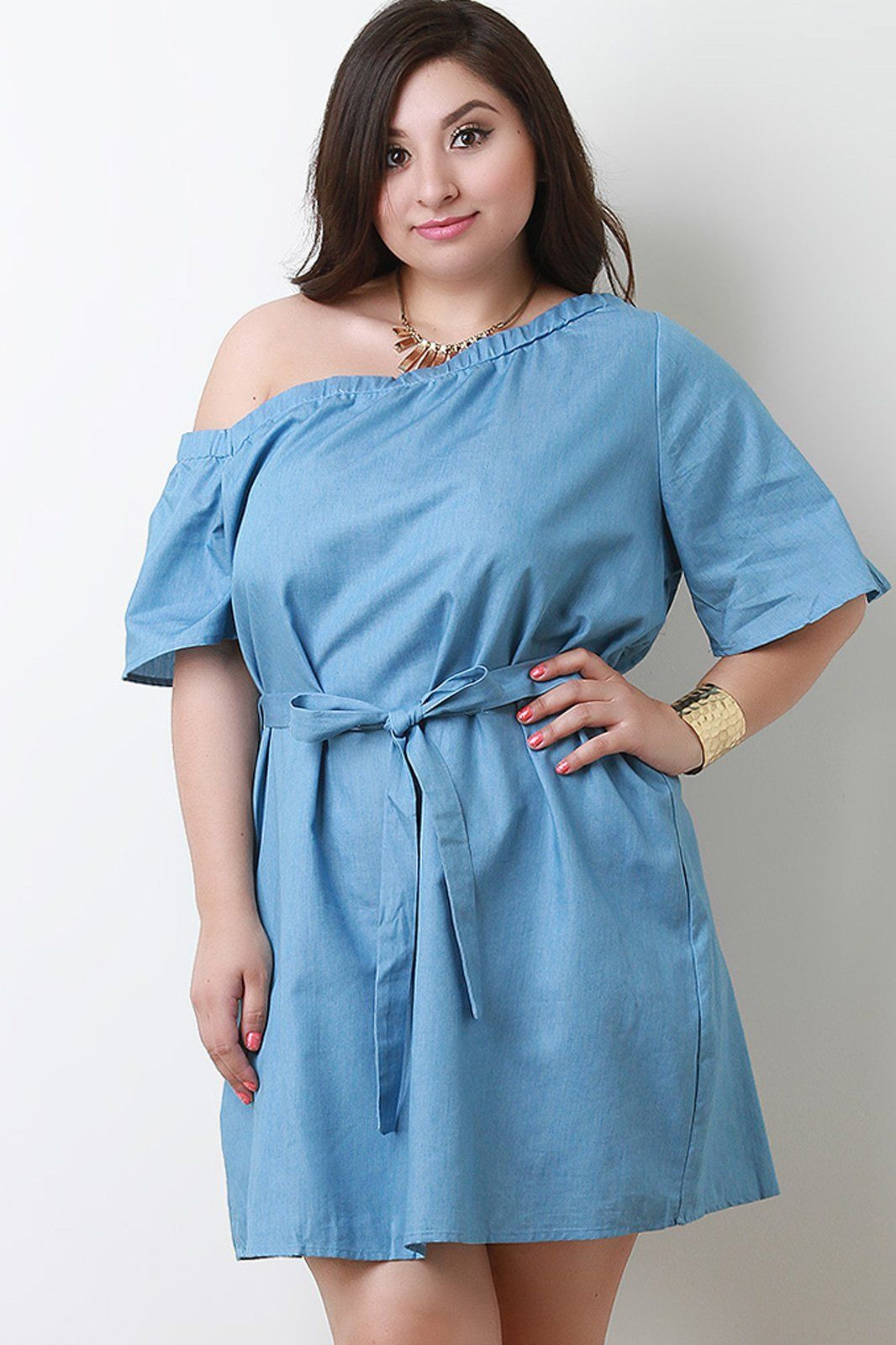 e7b4d03c4e8 Chambray One Shoulder Waist Tie Shift Dress | Products | Dresses ...