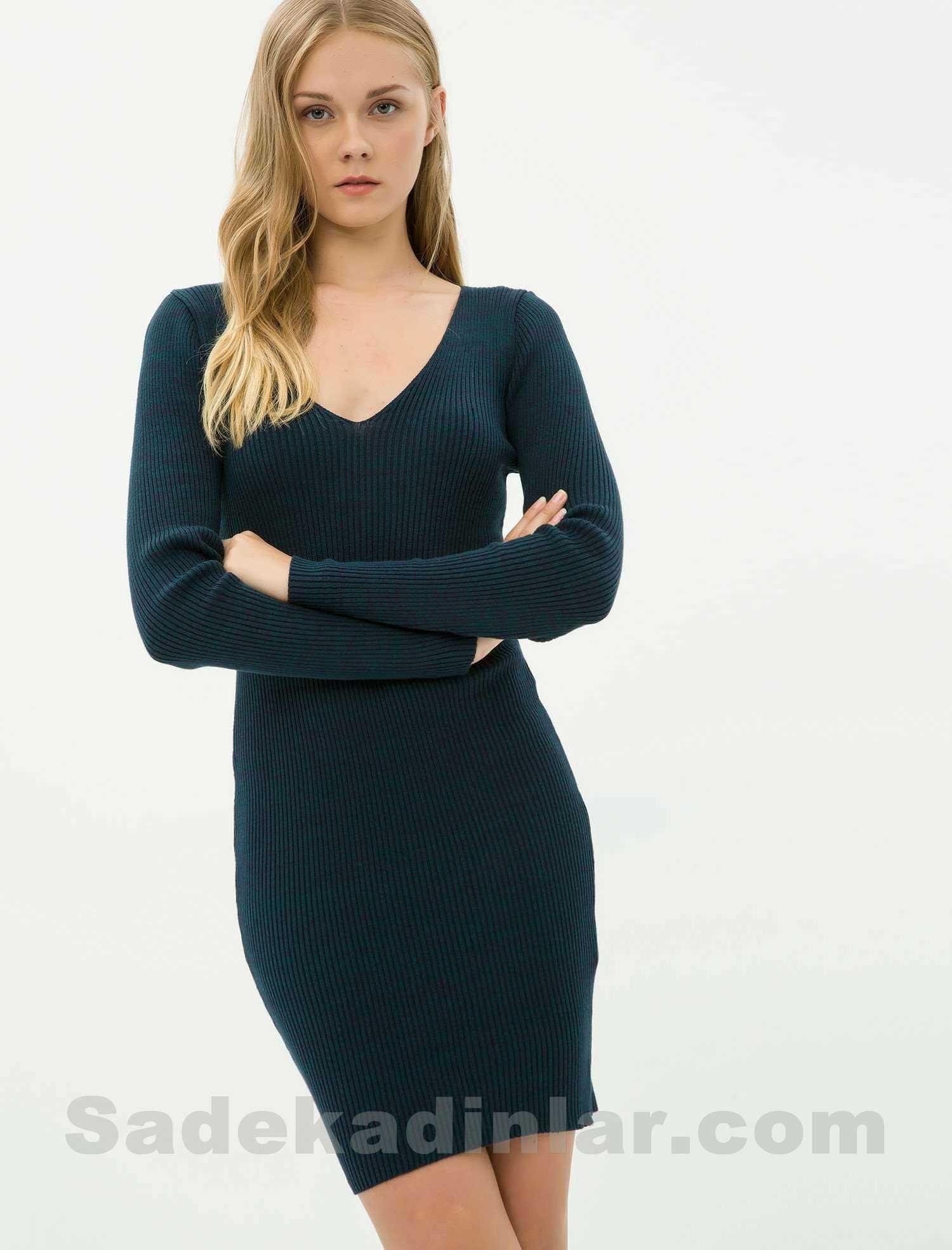 Dar Kesim V Yaka Petrol Mavisi Triko Elbise Modelleri Elbise Modelleri Moda Stilleri Moda