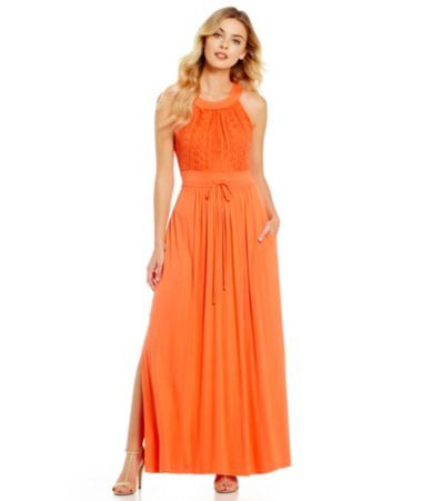 Calvin Klein Lace Drawstring Maxi Dress Dillards Kateys Closet