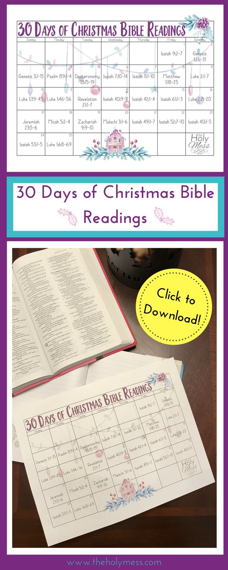 30 Days of Christmas Bible Readings | Bible readings, Bible and ...