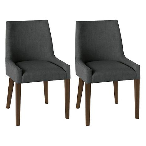 pair of charcoal grey 'ella' upholstered tub dining chairs with