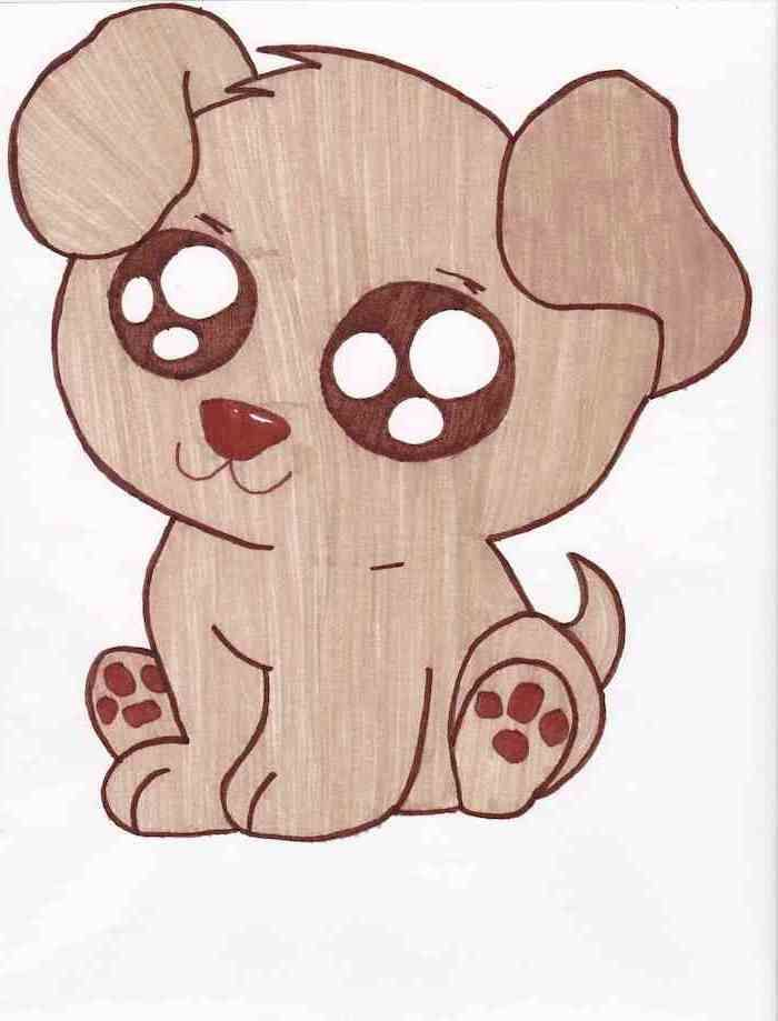 things-to-draw-when-bored-small-puppy-colored-in-brown-on-white-background