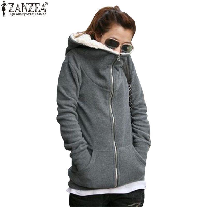 Women Plain Hoodies Fleece Sweatshirt Hooded Coat Casual Zip up Jacket Outwear