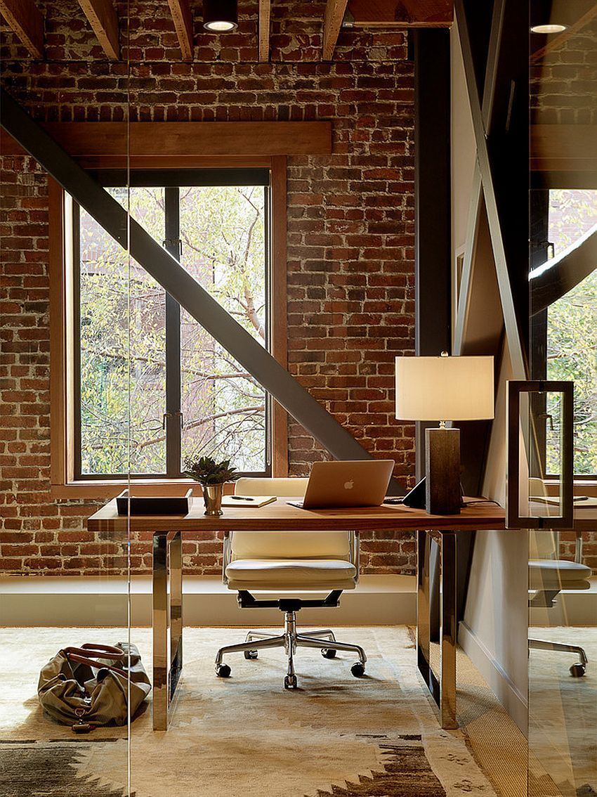 office backdrop. Exposed Brick Wall Backdrop Is Perfect For The Industrial Home Office [Design: Palmer Weiss Interior Design] #industrialofficedesigns G