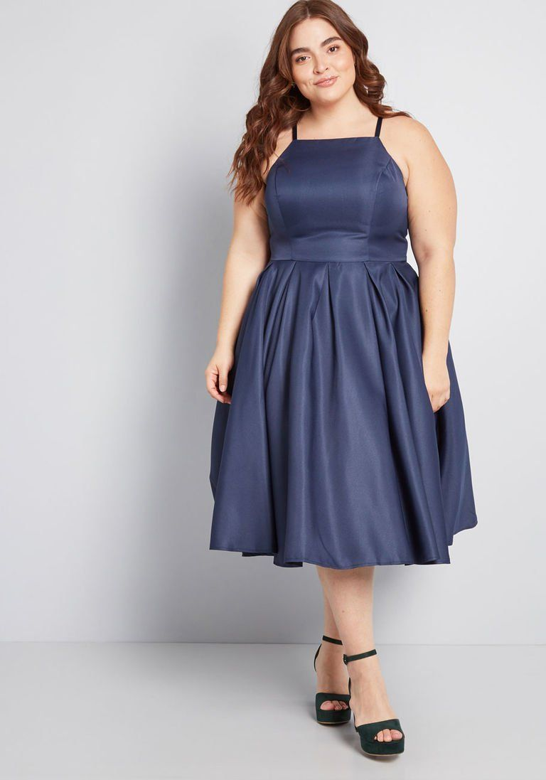d87bae3119c Beloved and Beyond Fit and Flare Dress in 16 - Spaghetti Fit   Flare Midi  by Chi Chi London from ModCloth