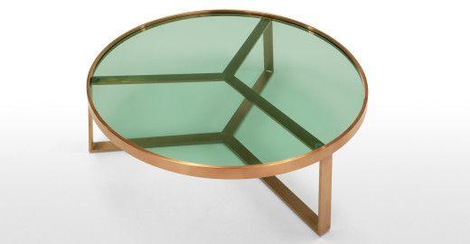 Aula Couchtisch, gebürstetes Kupfer und grünes Glas | made.com