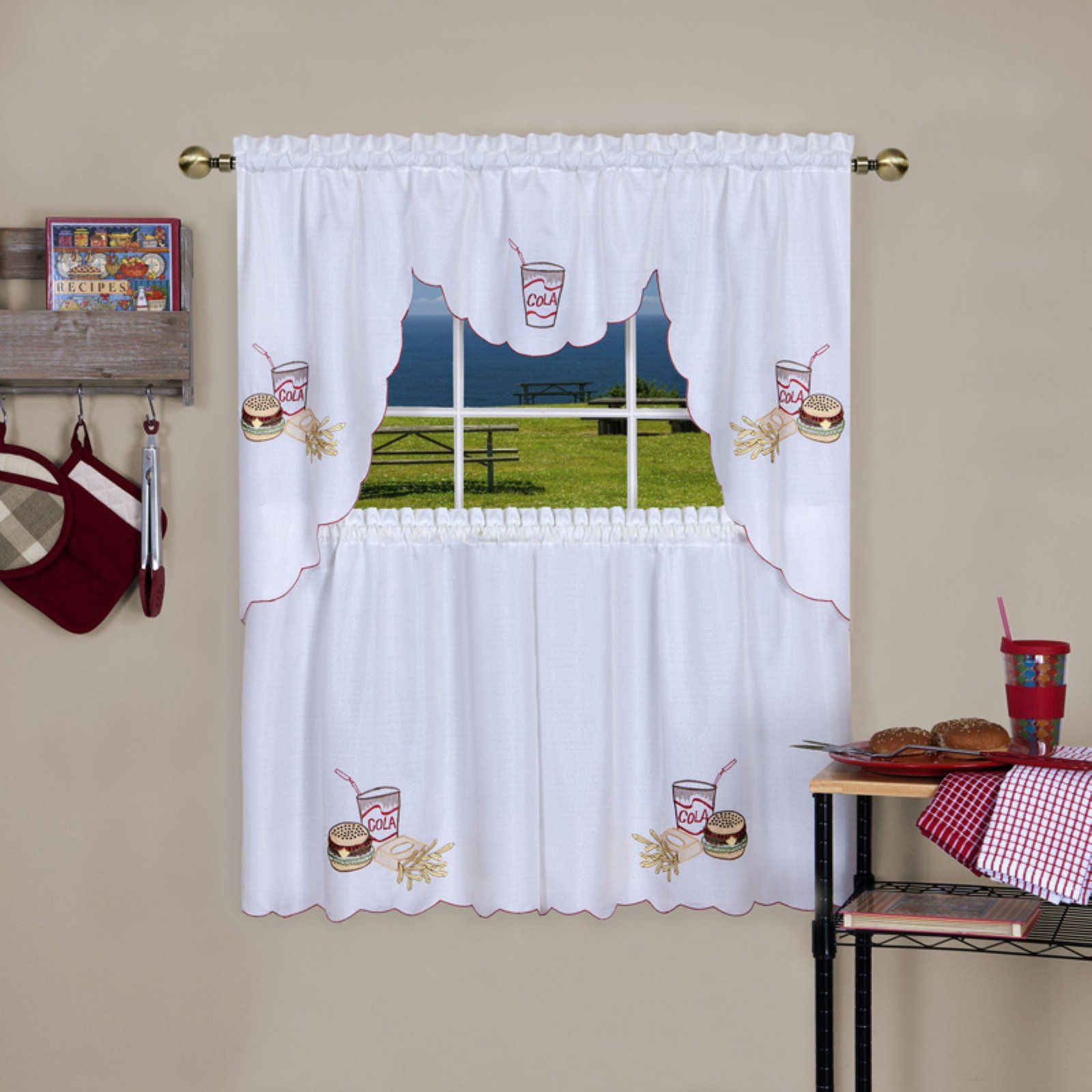 Achim Fast Food Embellished Tier And Swag Window Curtain Set Size 56x36 Swag Curtains Kitchen Curtain Sets