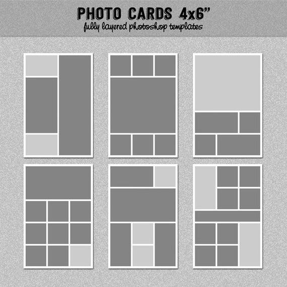 6 Photo Card Templates 4x6 Scrapbook Template Blog Etsy In 2021 Photo Card Template Card Templates Free Postcard Template
