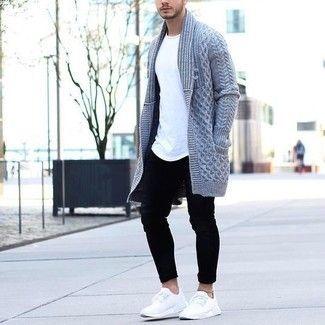 aa15b96a064 Men s Grey Knit Cardigan