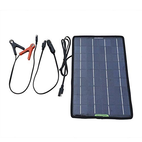 Eco Worthy 12 Volts 10 Watts Portable Power Solar Panel Battery Charger Backup For Car Boat With Alligator Clip Adapter Portable Powers Solar Battery Charger Solar Panel Battery Solar Battery