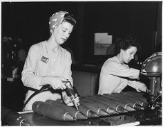 How women wore their hair in the munitions factories during the war. Head scarves were both practical and fashionable. Women couldn't wash their hair every day so it kept it out of sight and safe whilst at work.