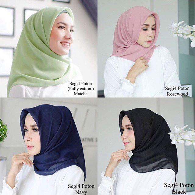 Jilbab Segiempat Poton Poly Cotton Square Bahan Poly Cotton