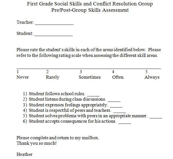 Social Skills Pre and Post Test Best Practices Pinterest - social work assessment form