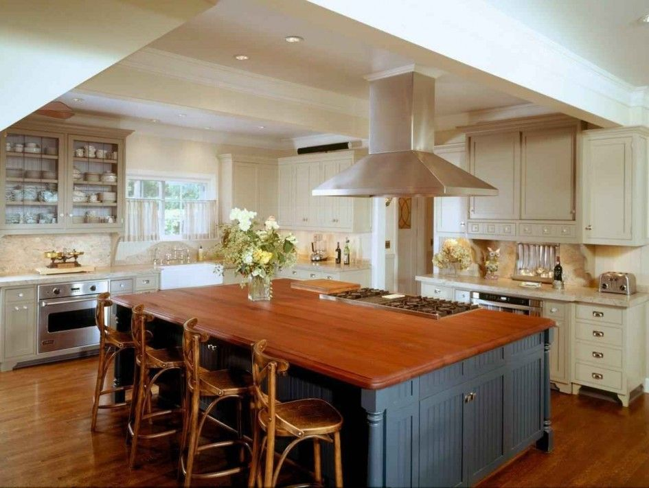 18 Inspiring Large Kitchen Island Ideas : Admirable Grey Painted Wooden Large  Kitchen Island Design With Wooden Upper Surface And Chic Kitch.