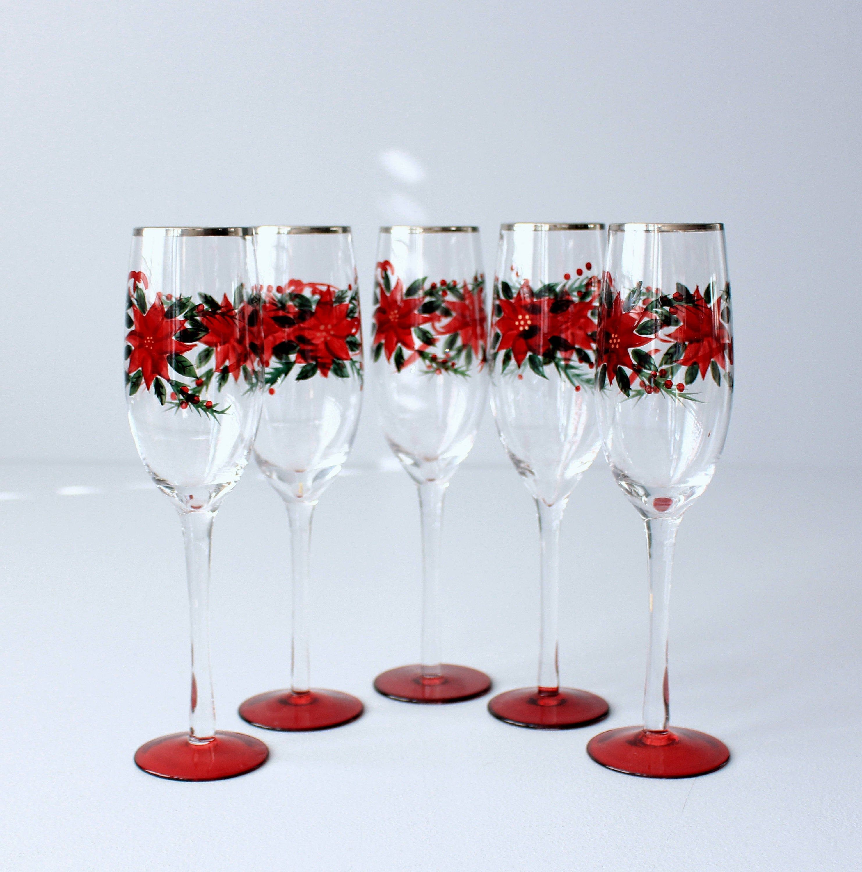 Crystal Wine Glasses Poinsettia Vintage Champagne Flute Vintage Christmas Glasses Red Long Stem Wine Glasses Hand Painted Set Of 5 Crystal Wine Glasses Long Stem Wine Glasses Christmas Glasses