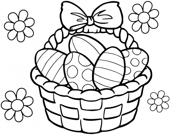 Cute Easter Basket Coloring Page Free Easter Coloring Pages