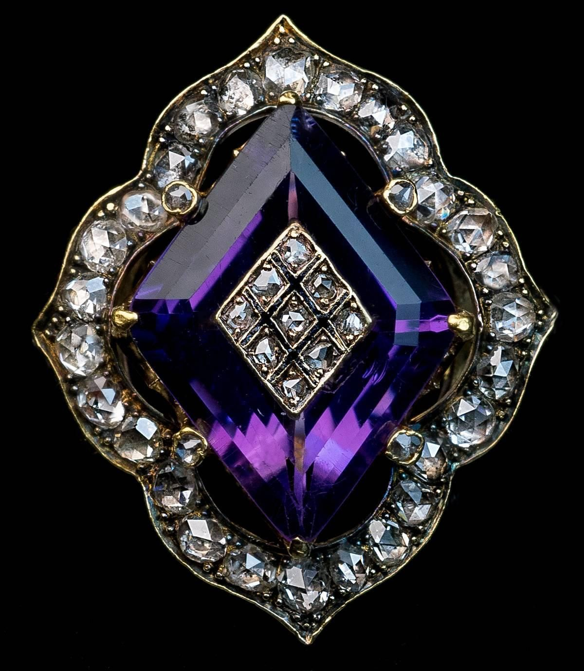Antique Victorian Amethyst Diamond Gold Ring | From a unique collection of vintage more rings at https://www.1stdibs.com/jewelry/rings/more-rings/