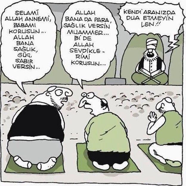 Yiğit Özgür karikatür Kendi aranızda dua etmeyin leyn ! | Karikatür, Komik,  Komik şeyler