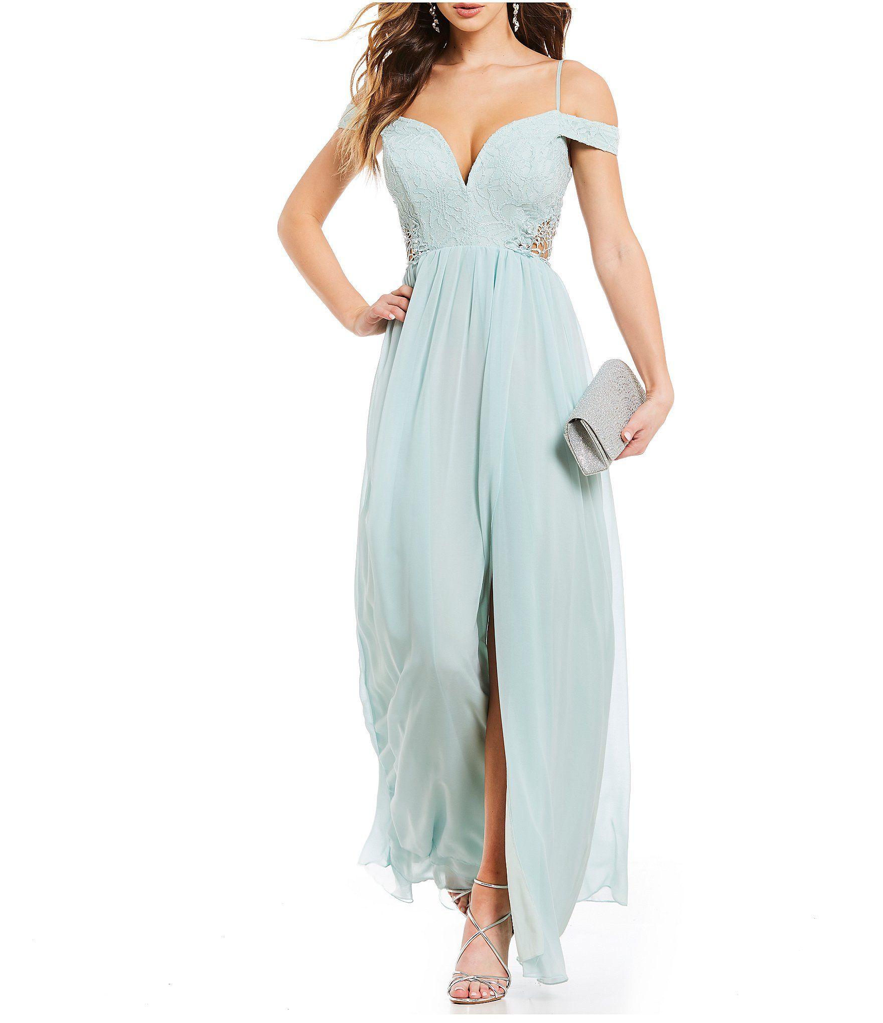af1e4729c70 Jodi Kristopher Off-The-Shoulder Lace Bodice Long Dress