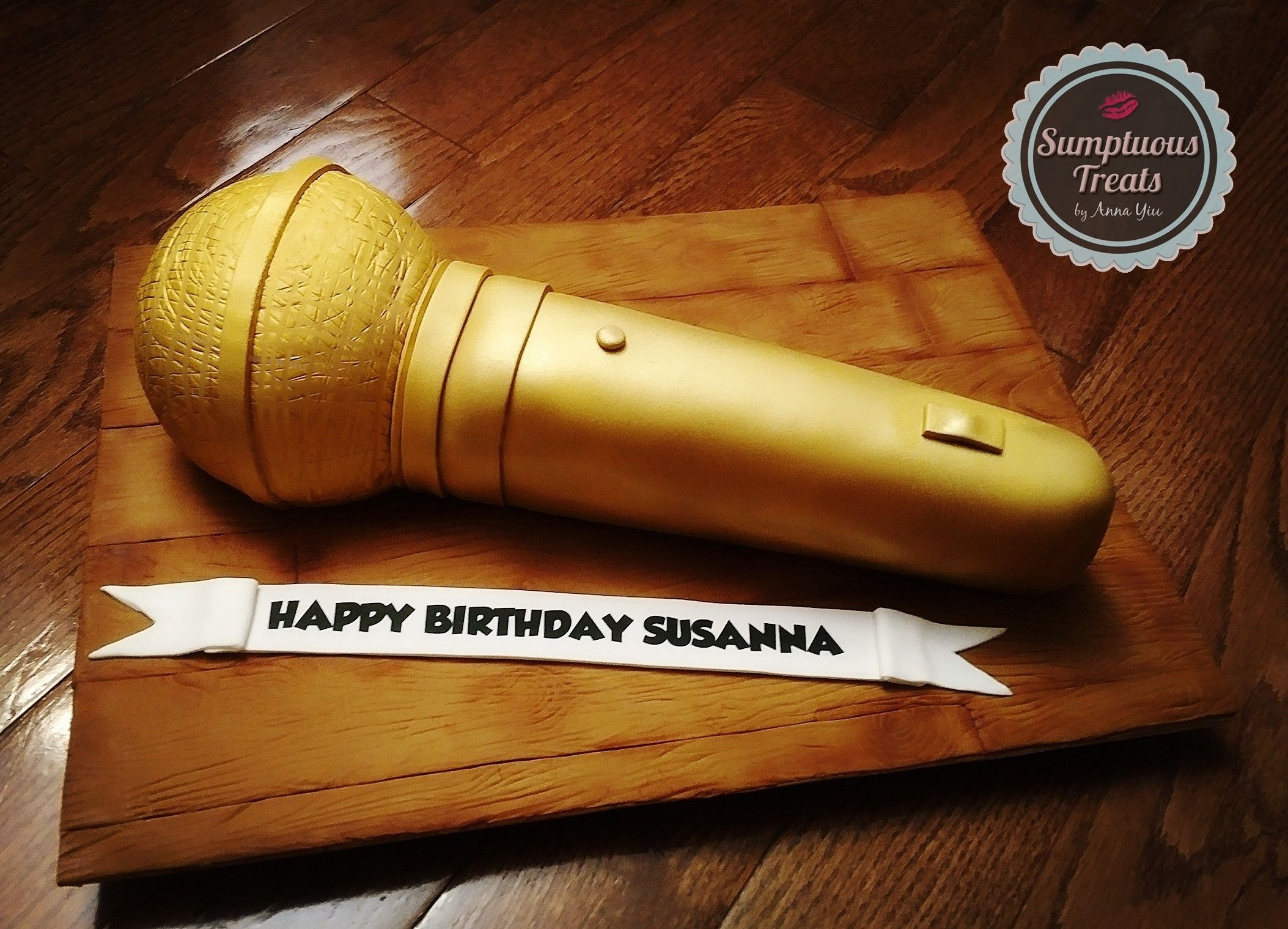 3D Gold Microphone Cake CustomMadeToOrder Cakes Edible Art