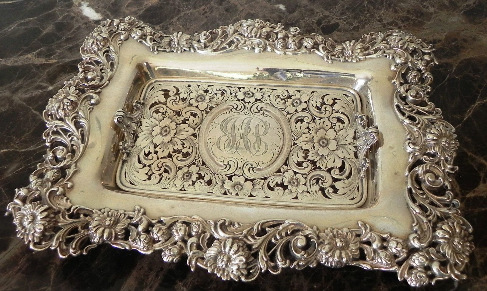 Mauser Mfg. Co. sterling silver footed asparagus tray with pierced liner, c1890 (emmclo)