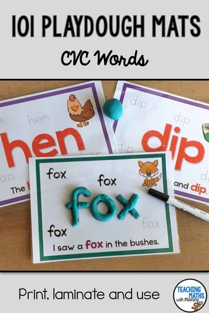 Play Dough Mats CVC Words Cvc words, Art activities for
