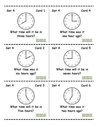 here s a great set of cards for a time center includes telling time