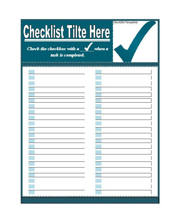 Checklist Template 04 classroom Pinterest Checklist template - microsoft word checklist template download free