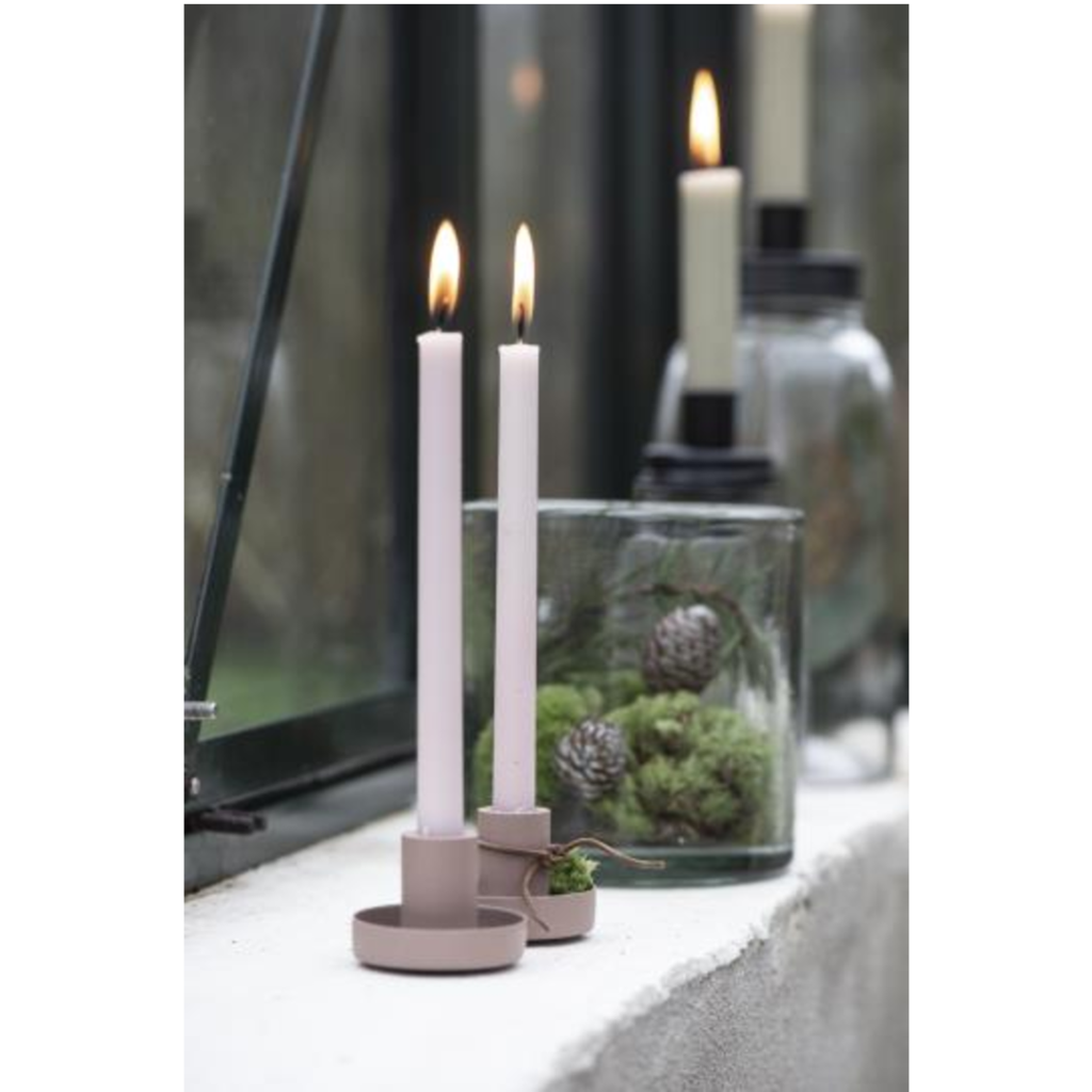 Dusky Pink Taper Candle Holder Metal Simplicity Is What Attracted Us To These Candle Holders They Are In 2020 Pink Taper Candles Metal Candle Holders Candle Holders