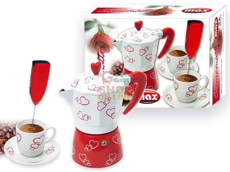 MAX CAFFETTIERA CUORI 2 TAZZINE +FRULLINO http://www.decariashop.it/home/10077-max-caffettiera-cuori-2-tazzine-frullino.html